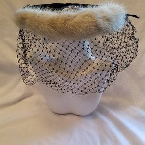 Vintage pillbox evening hat with netting